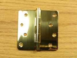 "Polished Solid Bright Brass 4""x4"" Door Hinges 1/4"" rad - $11.20"