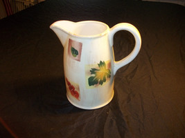 Jarm Autumn  Pitcher Cream  Off White with Leaf Motife Red Green Brown  ... - $28.70