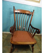 Rocking Chair Tell City Vintage Antique Wood Spindle Back Rocker Metal W... - $267.29