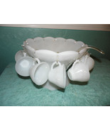 Anchor Hocking Milk Glass Punch Bowl Set 12 Cups  Grapevine Pattern White - $69.29