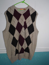 Men IZOD  Knit Sweater  Vest X Large XL Argyle Brown Tan Wine  100% Cotton - $24.70