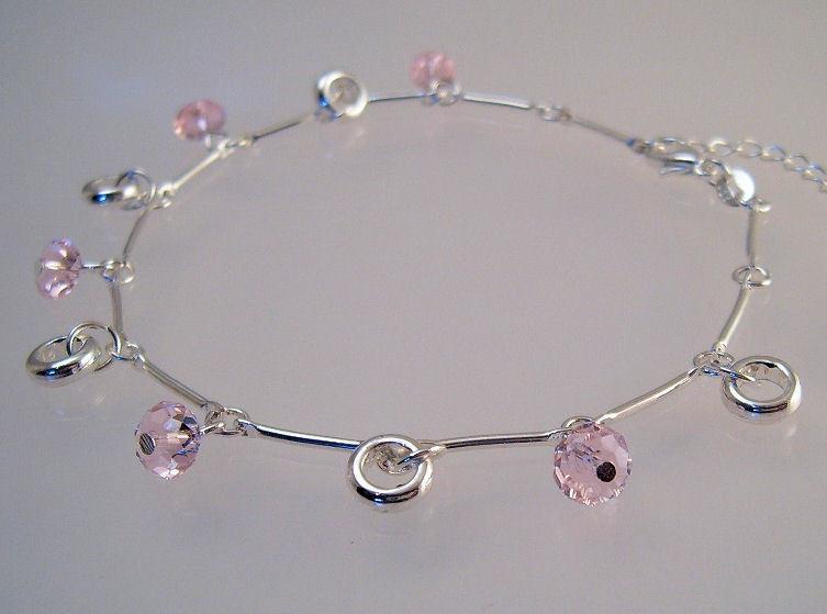 Ankle bracelet sterling pink crystals  1