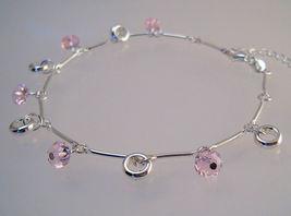 Ankle bracelet sterling pink crystals  1  thumb200