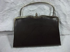Vintage Metal Frame Dark Brown Clutch Faux Leather - $31.67