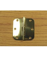 "Polished Solid Bright Brass 3 1/2"" Door Hinges 5/8"" rad - $11.00"