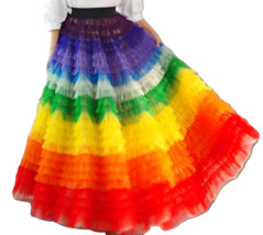 Adult Rainbow Tulle Skirt Long Colorful Rainbow Tutu Rainbow Costume High Waist  image 2