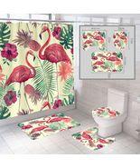 4pcs Bathroom Shower Curtain Nonslip Bath Mat Pedestal Toilet Seat Cover... - $41.99