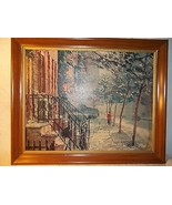 Vintage Art Mid Century Peter Hayward Greenwich Villiage Signed Framed L... - $85.13