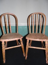 Pair Set of Vintage Antique Children's or Doll Chairs Primitive Shabby Pink - $64.35