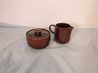 Vintage Mid Century Melitta Brown Stoneware Sugar Bowl  Creamer  Table Ware - $26.73