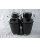 Set Vintage Glasses Tumblers Faux Leather Barware Black Leather - $19.80
