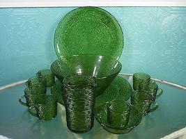 Vintage Anchor Hocking Soreno Avocado Green Bar... - $34.65