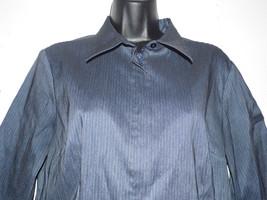 Express Pin Stripe  Blue Jean Blouse Shirt 11/12 Zip front 3/4 Sleeve Sp... - $26.68