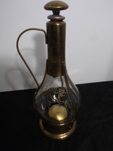 Vintage Brass Glass Decanter Music Box Barware Jug Plays Hi Dry I Am - $38.60