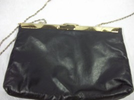 Vintage Navy Blue Metal Frame Clutch with Chain Strap Leather  - $48.51