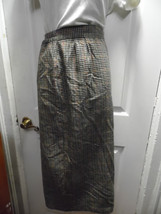 Long Plaid Winter Skirt Size 12 Pencil Multi Color Brown Lined Michelle Checked - $25.73