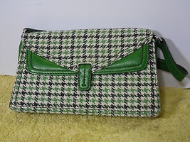 Vintage  Liz Claiborne Purse Handbag Green Houndstooth  Checked Leather Baguette - $27.71