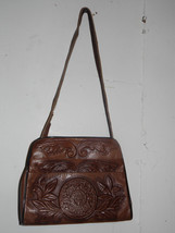 Etienne Aigner  Leather Purse Cross Over Hand Bag Stamped Floral Brown - $42.56