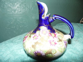 Vintage Rare Pitcher Blue Purple Green Gold Floral Vase - $22.72