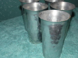 Hammered Forged Aluminum Tumblers Cups Hal-Sey L & M  Barware Turned Rim - $39.59