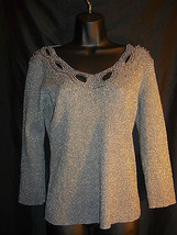 Cable and Gauge  M. Silk Blend Gray/Silver Knit Top Sweater  Beads  Cutouts - $25.74