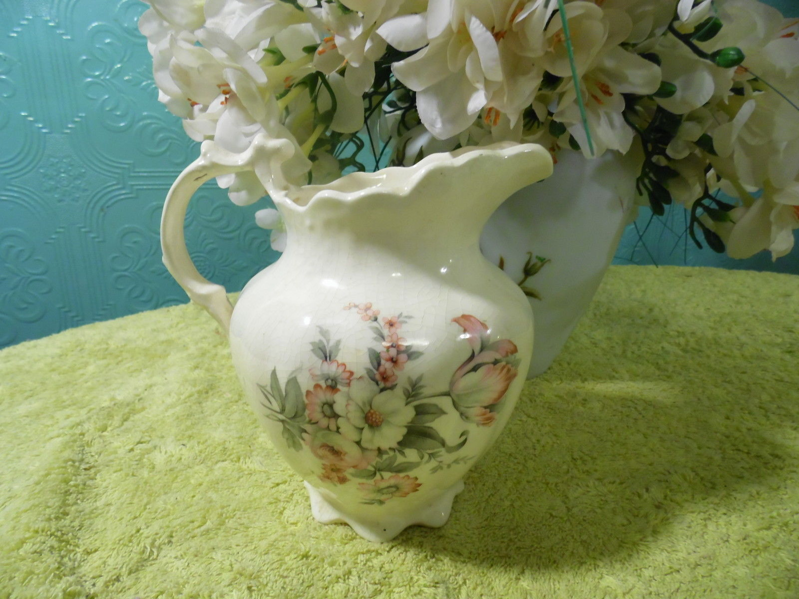 Primary image for Vintage Pitcher Ceramic Hand made White Pink Gray Flowers Red