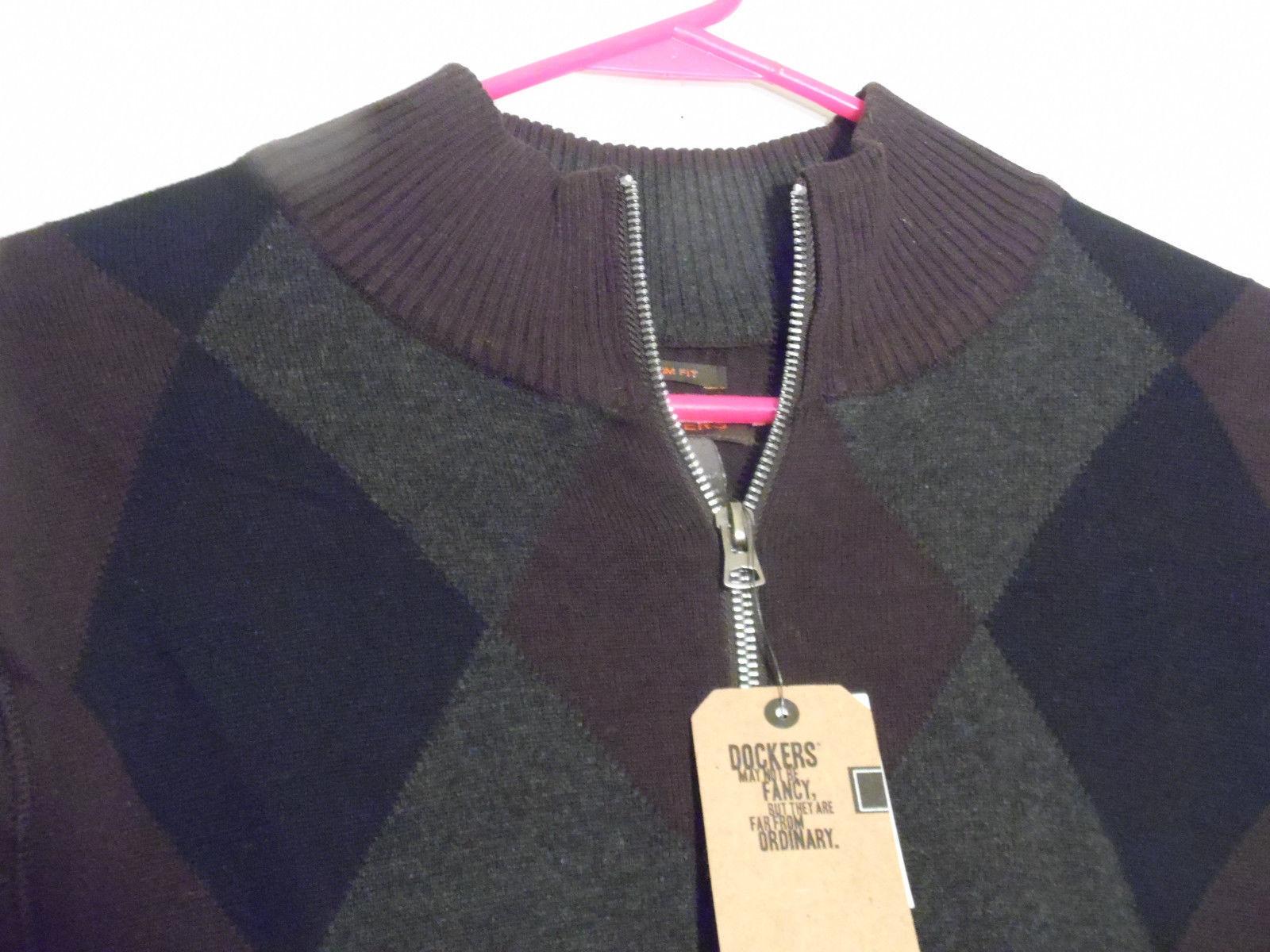 New Men Docker Knit Sweater L Slim Zip Front and 50 similar