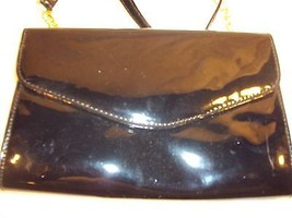 Pattened Leather Clutch with Gold Tone Chain Strap Cross Body - $42.48 CAD