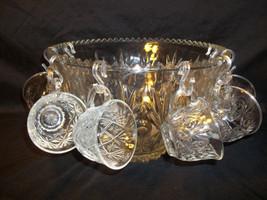Vintage Crystal Glass Pressed Glass  Punch Bowl Set Salad Bowl. - $49.50