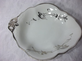 Vintage Antique White and Silver Leaf Shaped Fine China Bowl - $32.66