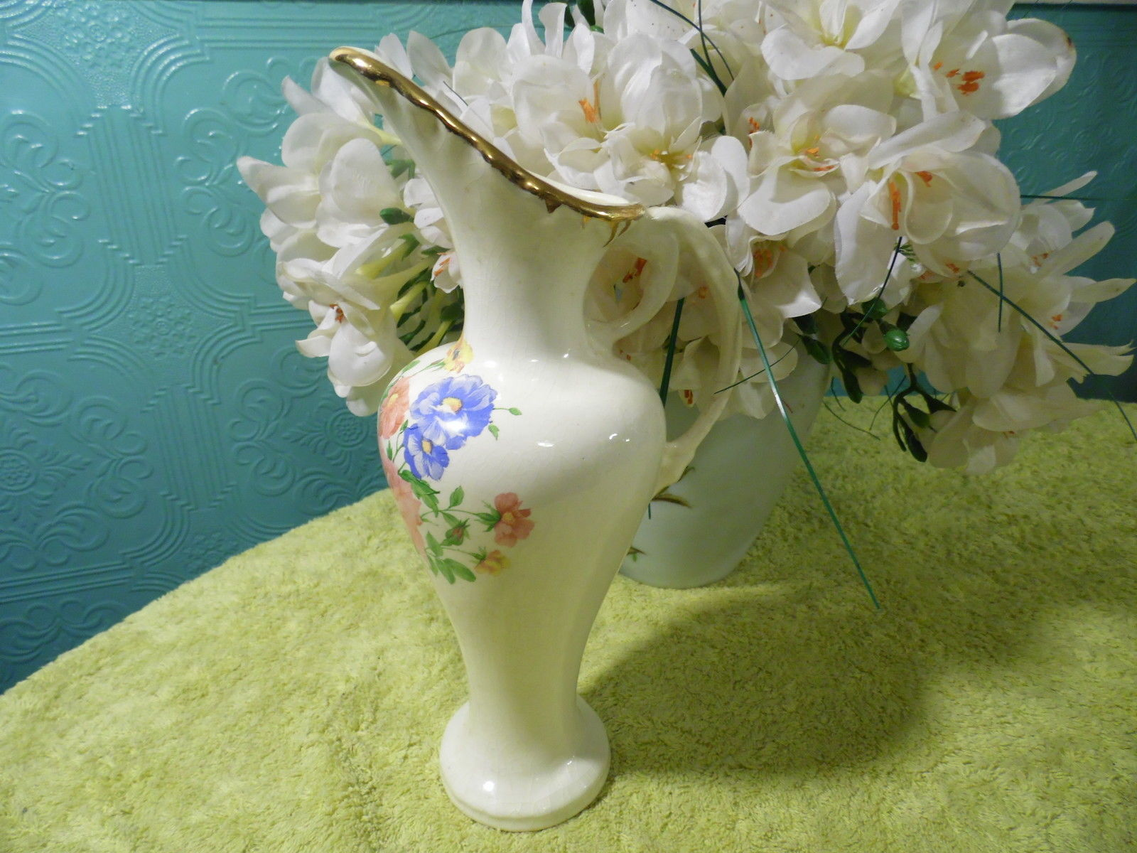Primary image for Vintage Pitcher Ceramic Floral White Gold Vase Pink Blue Yellow Green
