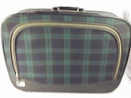 Vintage Leeds Suitcase Blue Green Plaid Retro T... - $34.65