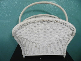 Vintage White Wicker Magazine Rack Rattan Storage Organizer Towel - $26.72
