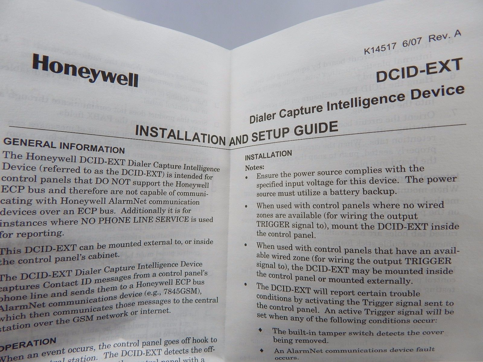 Honeywell Ademco DCID-EXT Dialer Capture Module / Capture Intelligent Device
