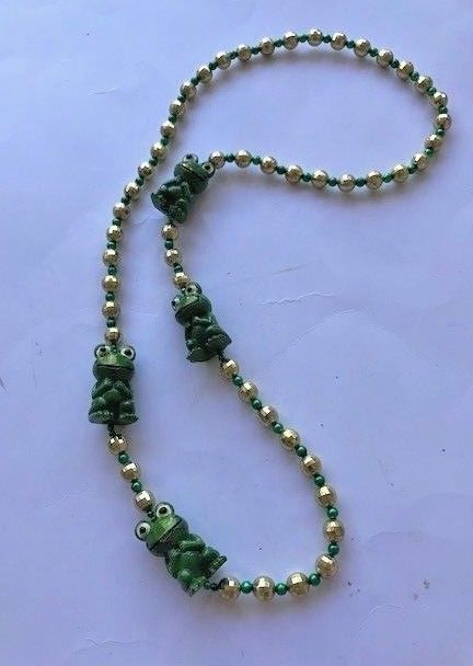 Frogs Beaded Necklace VTG July 4th Parade Pool Party NOS Fantasy Fest Mardi Gras image 5