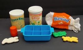 VTG 8 PC Fisher Price Play Food Set Kitchen Ice Cube Tray Bread Alphabet... - $17.09