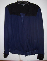 Michael Stars Blue Black Silk Blouse Surplice Hi Lo Shirt Blouson Sz M E... - $42.08