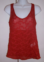 NWT Cute LUCKY BRAND Embroidered Semi Sheer Red Tank / Shell  Size XS - $29.65