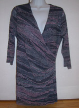 SWEET PEA Stacy Frati Gray Pink Mosaic Design Faux Wrap L/S Top Sz Small... - $24.70