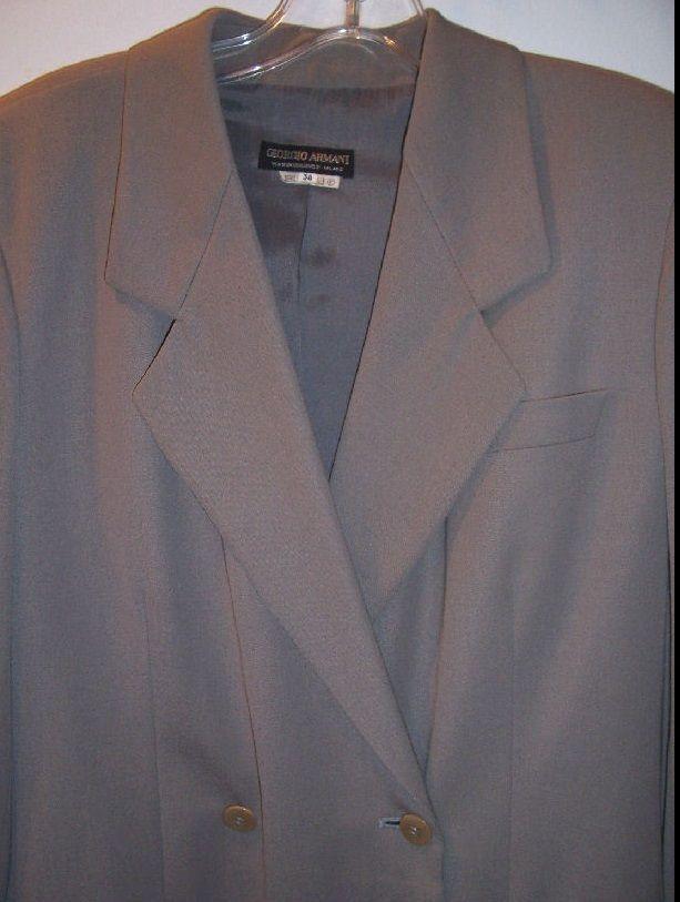GIORGIO ARMANI BLACK LABEL Beige Taupe Wool Double Breasted Coat Sz 36 US 4 EUC