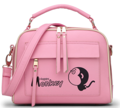 Monkey Leather Shoulder Bags Women Medium Backpacks Messenger Bags,Purse... - $39.66