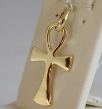 SOLID 18K YELLOW GOLD, ANKH CROSS OF LIFE PENDANT, LENGTH 1,1 IN MADE IN ITALY