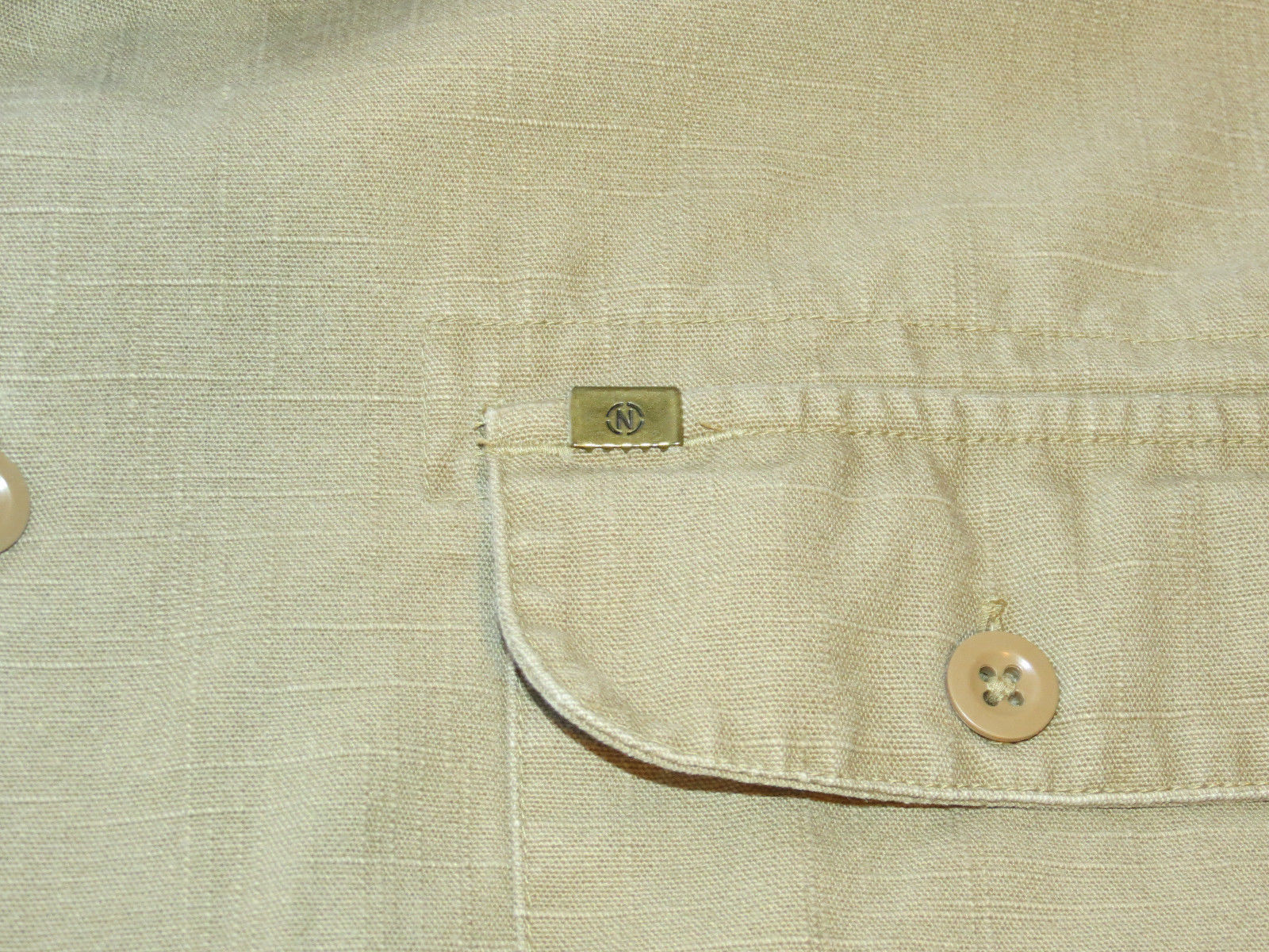 Mens Nautica cotton L Athletic Fit long sleeve button up shirt casual EUC@