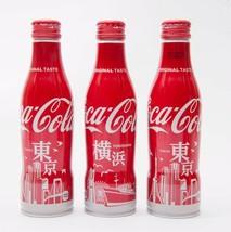 Yokohama & 2 Tokyo Coca Cola Aluminum Full bottle 3 250ml Japan Limited - $38.61
