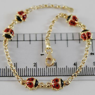 18K YELLOW GOLD GIRL BRACELET 7.10 GLAZED LADYBIRD LADYBUG ENAMEL, MADE IN ITALY