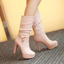 pb109 cutie high-heeled Martin booties w pendant decorated, US size 4-9, PINK - $52.80