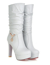 pb109 cutie high-heeled Martin booties w pendant decorated, US size 4-9, GRAY - $52.80