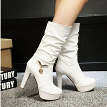 pb109 cutie high-heeled Martin booties w pendant decorated, US size 4-9, WHITE - $52.80