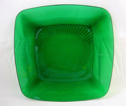 Anchor Hocking Luncheon Plate Forest Green Charm Square Glass Design - $26.75