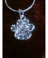 Sterling Silver Rhinestone Paw Print Pendant on a 925 Sterling Silver Sn... - $8.99